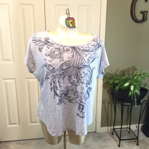 Dress Barn Gray Graphic Tee w/Embellishments 2X
